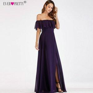 Off the shoulder Purple bridesmaid dress